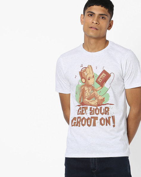 Graphic Print Crew-Neck T-shirt By Souled Store ( Greymelange )