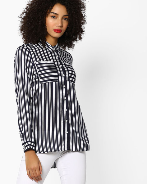 High-Low Striped Shirt By Fame Forever By Lifestyle ( Navy )