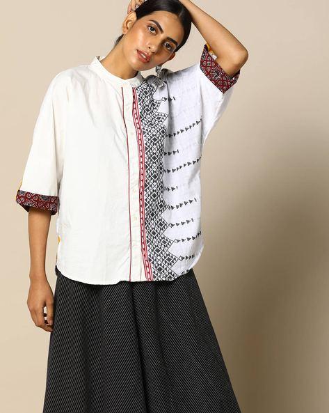 Handloom Cotton Half & Half Shirt With Kimono Sleeves By Free Living ( White ) - 460095265001