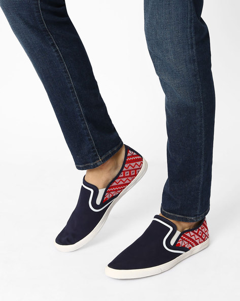 Embroidered Canvas Slip-Ons By AJIO ( Blue )