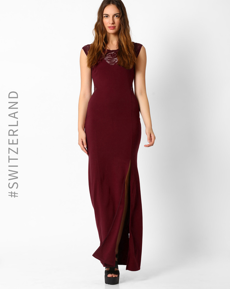 Lace Maxi Dress With Slit By TALLY WEiJL ( Maroon )