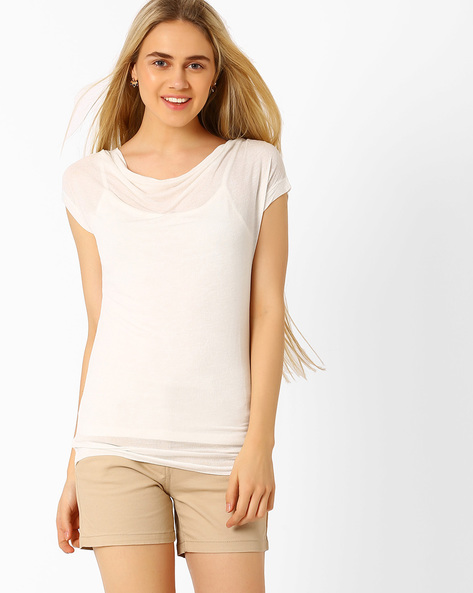 Top With Cowl Neck By Annabelle By Pantaloons ( White )