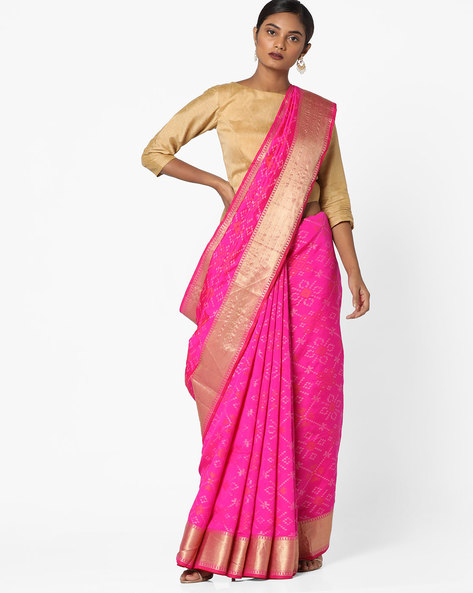 Woven Printed Saree With Zari Border By Pihu ( Pink )