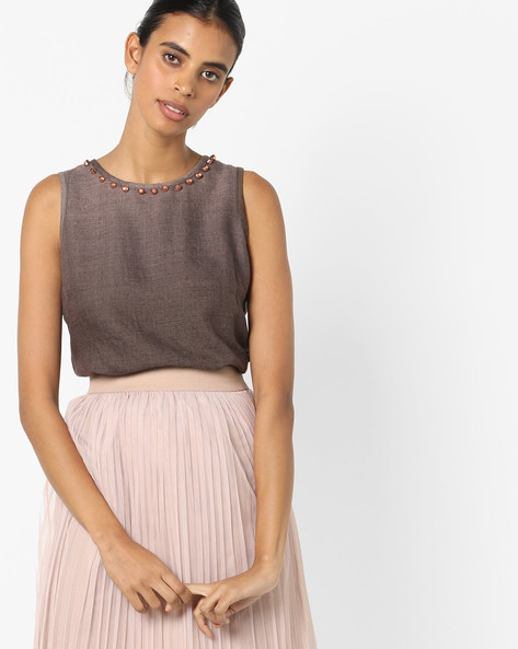 High-Low Top With Embellished Neckline By Oxolloxo ( Brown )