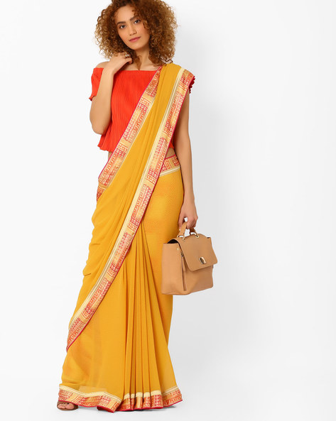 Saree With Contrast Border By Arissa ( Yellow )