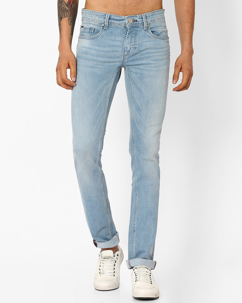 Torque Fit Sky Space Stretch Jeans By BASICS ( Blue )