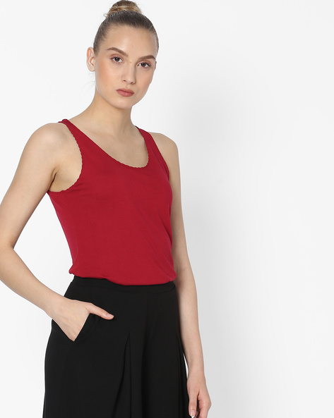 Sleeveless Top With Scoop Neck By DNMX ( Red )