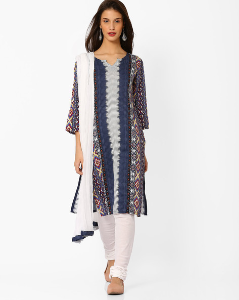 Printed Churidar Kurta With Dupatta By AVAASA SET ( Blue ) - 440706675004