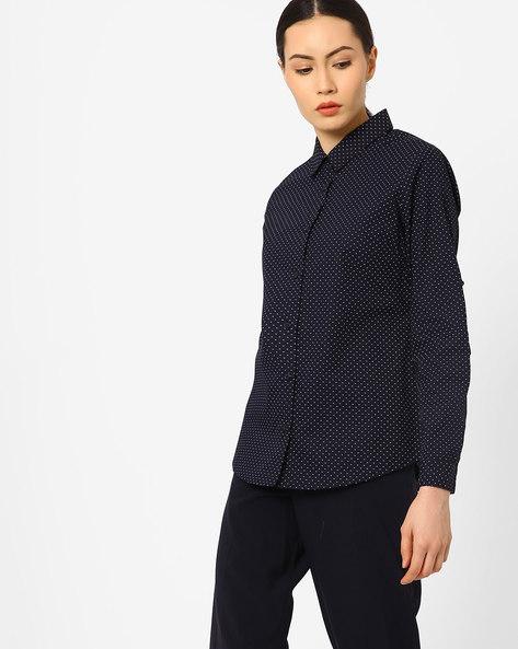 Ditsy Print Slim Fit Shirt By AJIO ( Navyblue )