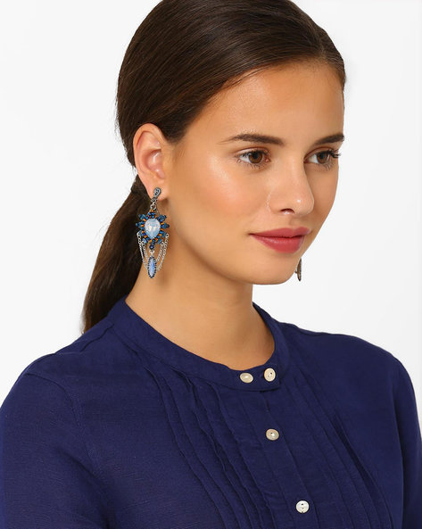Ocean Spark Drop-Earrings By Style Fiesta ( Blue )