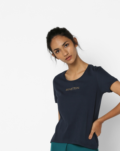 Cotton T-shirt With Printed Branding By UNITED COLORS OF BENETTON ( Navyblue )
