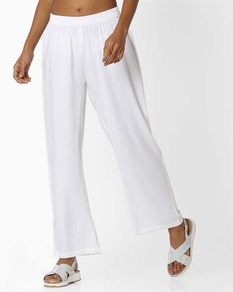 Palazzos With Elasticated Waist By OVI ( Offwhite )
