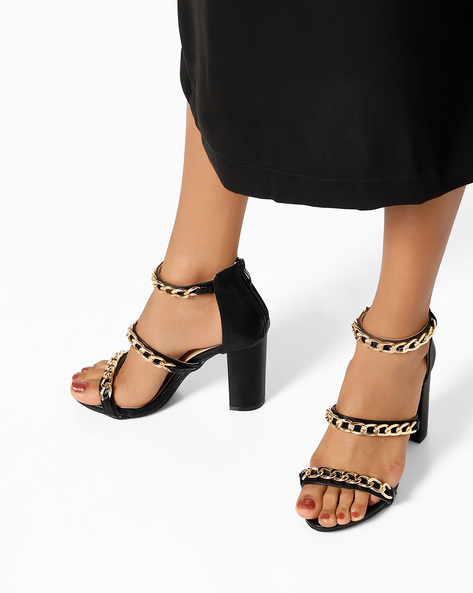 Element Chain Heeled Sandals By MFT Couture ( Black )