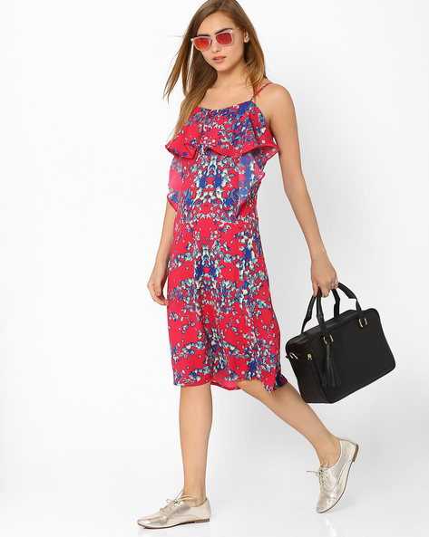 Soft Moss Printed Dress By AJIO ( Pink )