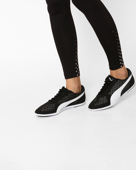 Casual Low-Top Lace-Up Shoes By Puma ( Black )
