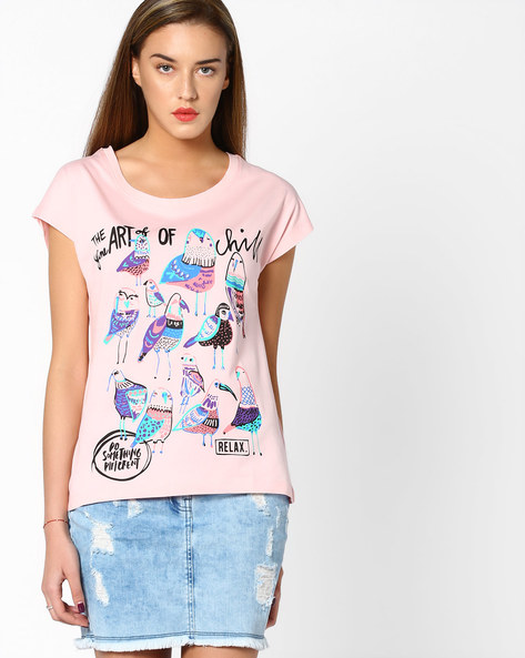 Bird Print T-shirt With Extended Sleeves By AJIO ( Pink )