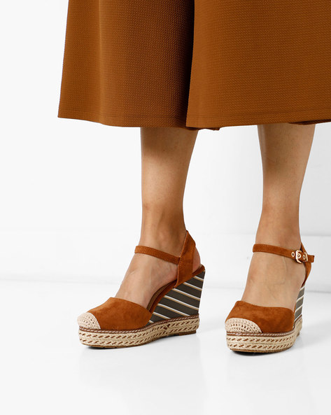 Wedges With Ankle Strap By AJIO ( Brown )