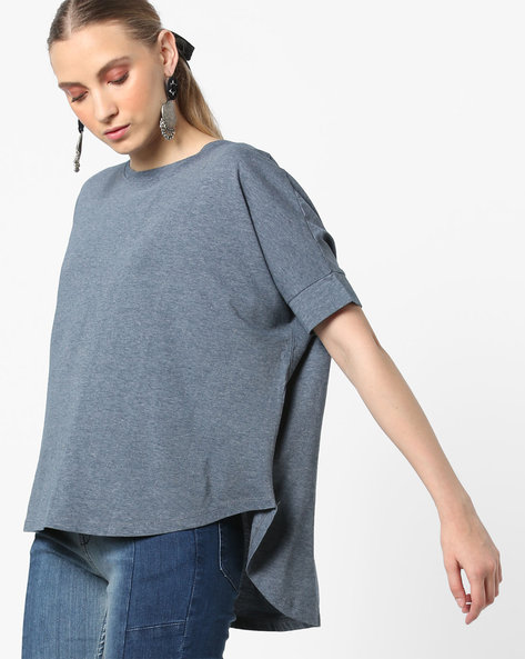 High-Low T-shirt With Dolman Sleeves By DNMX ( Navy )