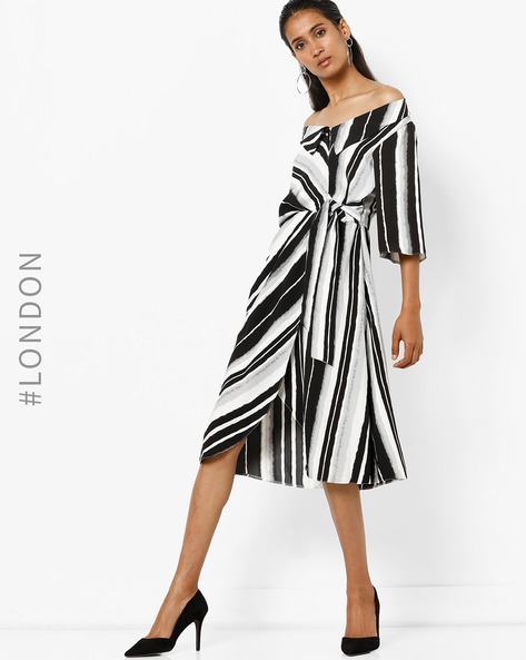 Striped Bardot-Neck Mock Wrap Dress By Closet London ( Multi )