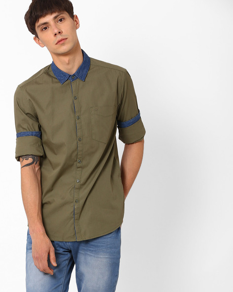 Slim Fit Shirt With Contrast Collar By Lee ( Olive )