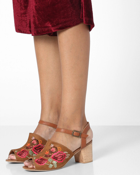 Chunky Heeled Mules With Embroidered Upper By AJIO ( Tan )