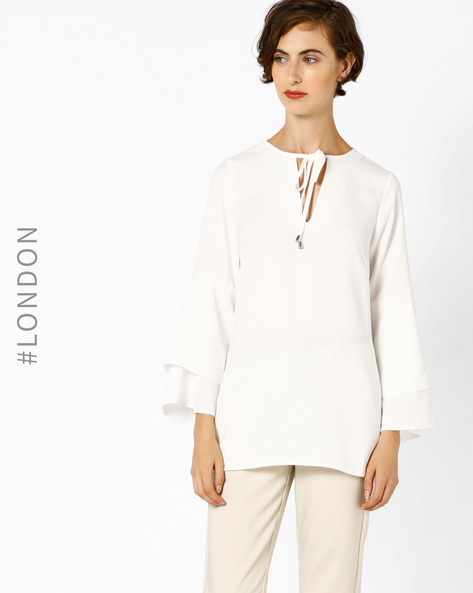 Top With Flute Sleeves By Closet London ( Ivory )