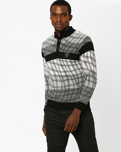 Checked Sweater With Ribbed Collar By DUKE ( Black )