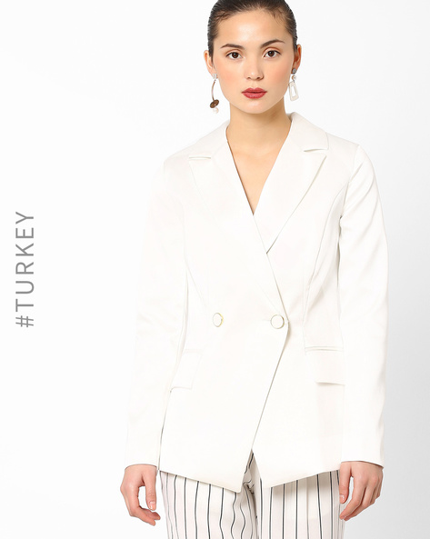 Slim Fit Blazer With Notched Lapel By Closet London ( Offwhite )