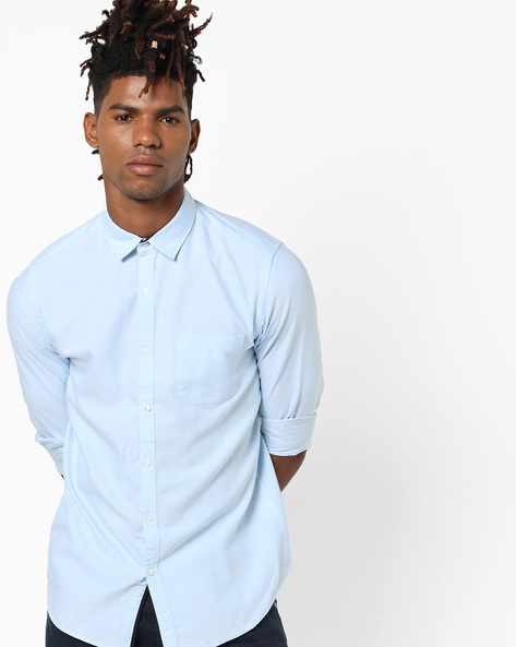 Cotton Shirt With Spread Collar By Black Coffee ( Blue )