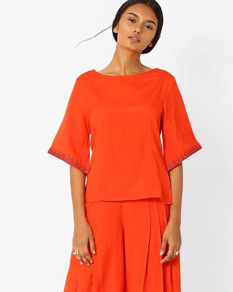 Boxy Top With Kimono Sleeves By AJIO ( Orange )