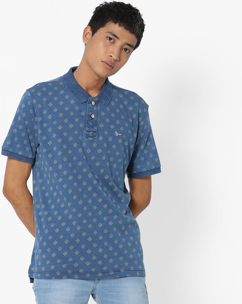 All-Over Print Polo T-shirt By FLYING MACHINE ( Indigo )
