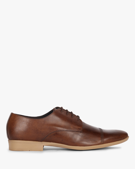 N9-Treated Derby Shoes With Toe-Cap By AJIO ( Brown )
