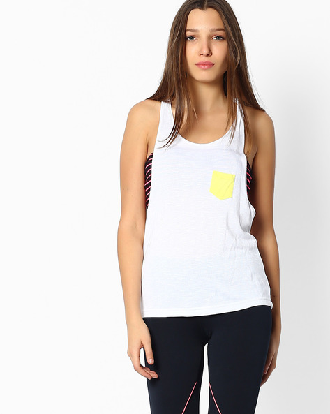 Tank Top With Contrast Pocket By Teamspirit ( Yellow )