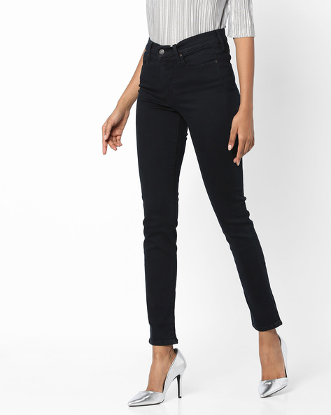 Skinny Fit Ankle-Length Jeans By LEVIS ( Black )