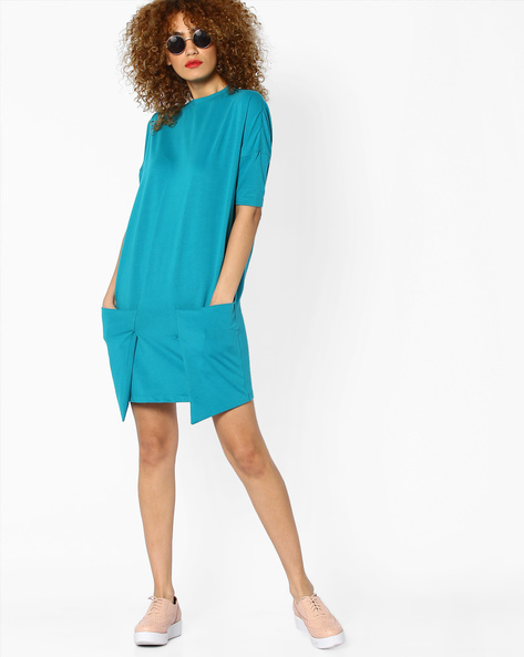 Jersey Dress With Drop-Shoulders By AJIO ( Green )