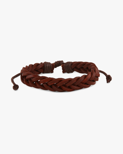 Braided Faux-Leather Bracelet By ALPHA MAN ( Brown )