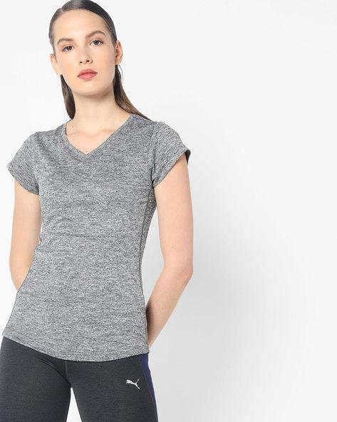 Slub Knit V-Neck T-shirt By Puma ( Black )