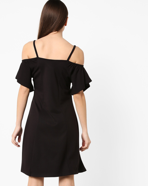 Strappy Off-Shoulder Dress By AJIO ( Black )