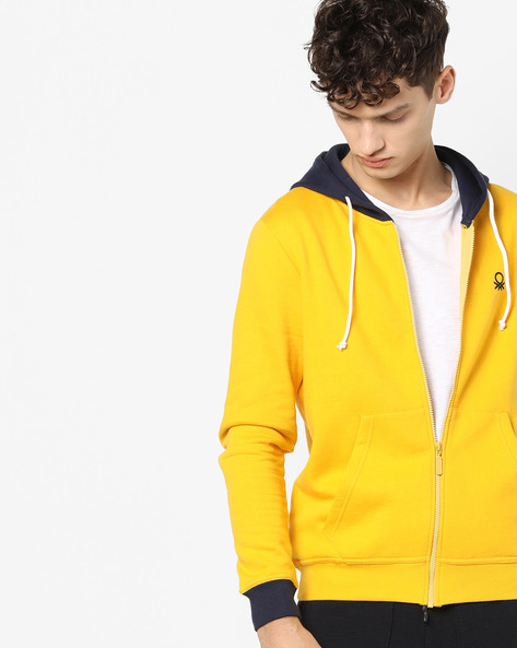 Hooded Sweatshirt With Front Zipper By UNITED COLORS OF BENETTON ( Yellow )