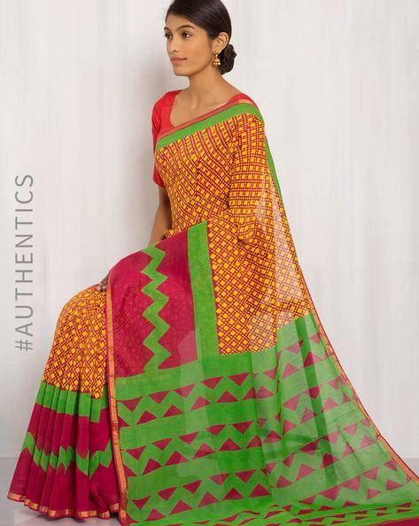 Hand Block Print Maheshwari Saree By Indie Picks ( Multi ) - 460016453001