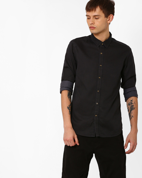 Cotton Shirt With Full Sleeves By FLYING MACHINE ( Black )