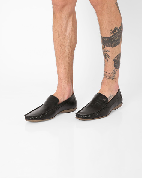 Loafers With Textured Upper By ALBERTO TORESSI ( Black )