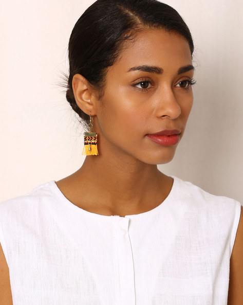 Beaded Drop-Earrings With Tassels By Indie Picks ( Yellow )
