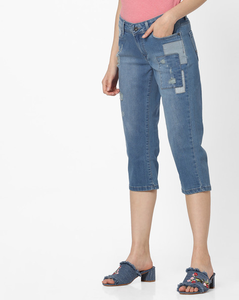 Slim Fit Cropped Jeans With Patches By Pepe Jeans ( Blue )