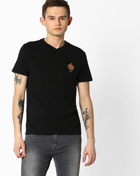Cotton V-neck T-shirt By US POLO ( Assorted )