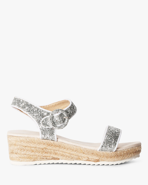 Glitter Wedges With Buckle Closure By Heavenly Feet ( Silver )