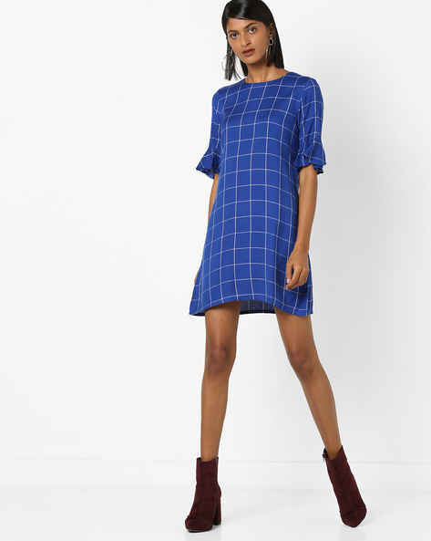 Checked Shift Dress With Flared Sleeves By 20Dresses ( Blue )