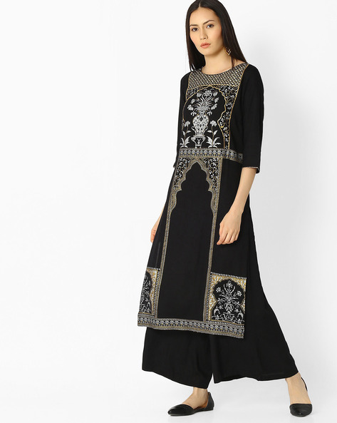 Printed Straight Kurta With Side Slits By AURELIA ( Black )