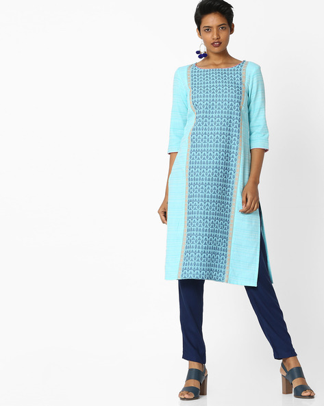 Printed Straight Kurta By AURELIA ( Blue ) - 440803461006