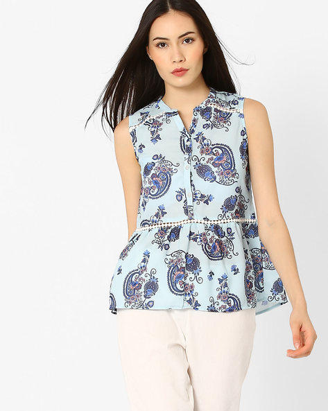 Printed Top With Curved Hem By CHM ( Multicolour )